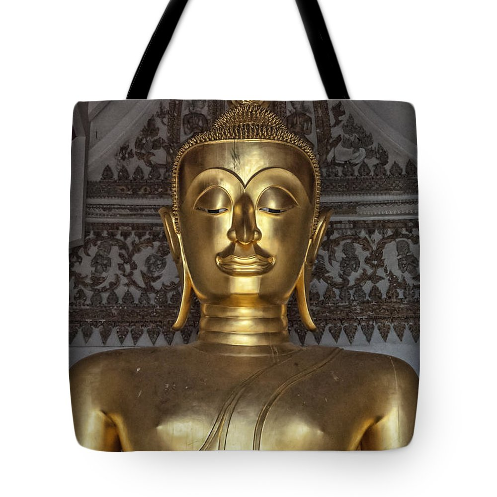 Buddhism Tote Bag featuring the photograph Golden Buddha Temple Statue by Antony McAulay