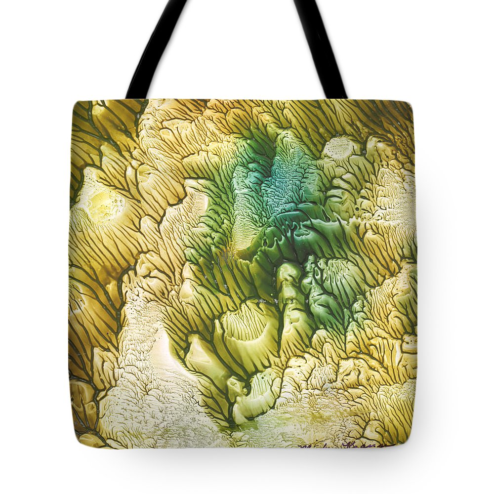 Coral Tote Bag featuring the painting Golden Coral by Mickey Krause