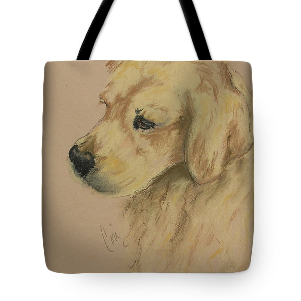 Golden Retriever Tote Bag featuring the drawing Golden Delights by Cori Solomon