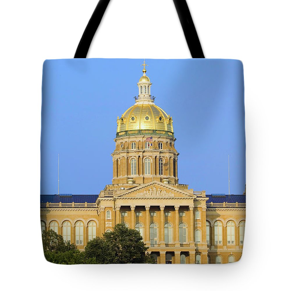 Photography Tote Bag featuring the photograph Golden Dome Of Iowa State Capital by Panoramic Images