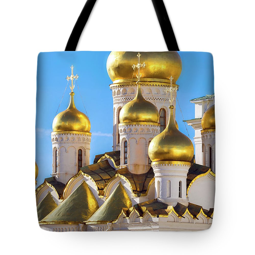 Annunciation Tote Bag featuring the photograph Golden Domes Of The Russian Church by Mordolff