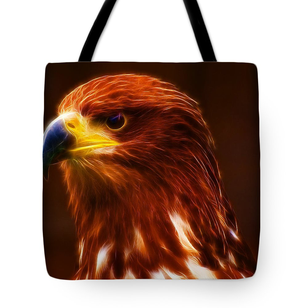 Golden Eagle Tote Bag featuring the photograph Golden Eagle Eye Fractalius by Chris Thaxter