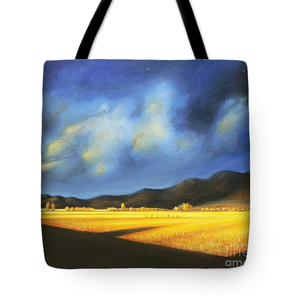 American Tote Bag featuring the painting Golden Fields by Artist ForYou