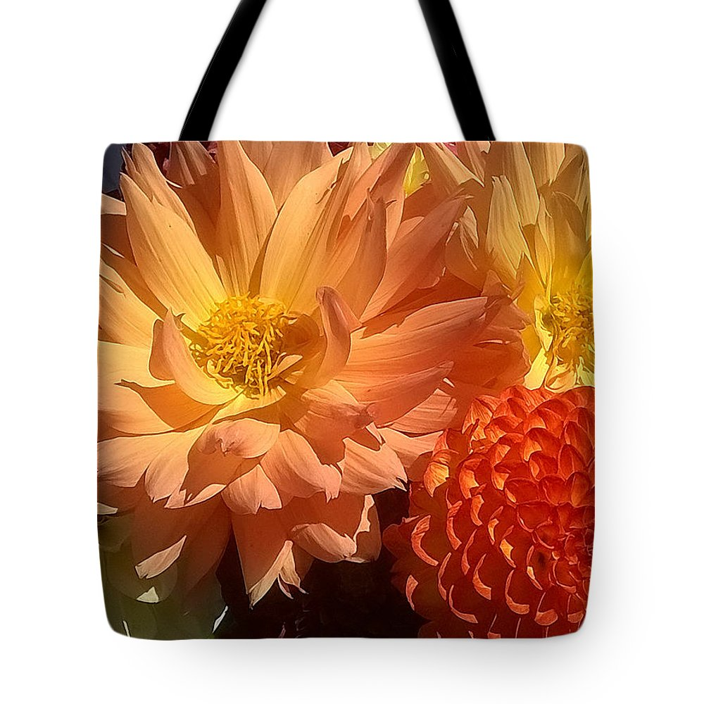 Duane Mccullough Tote Bag featuring the photograph Golden Flowers Upclose by Duane McCullough
