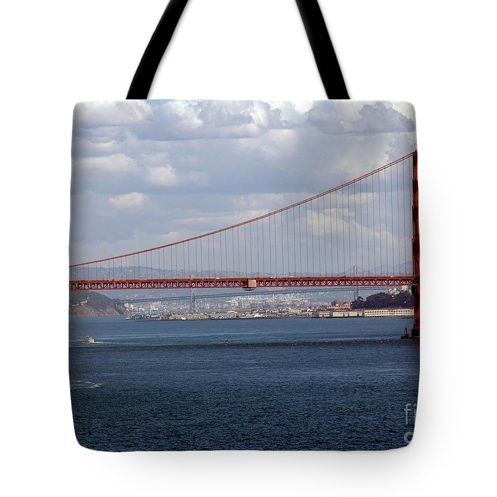 Golden Tote Bag featuring the photograph Golden Gate Bridge 2 by Kathleen Struckle
