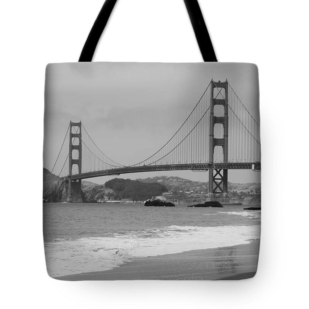 Golden Gate Tote Bag featuring the photograph Golden Gate Bridge And Beach by Christiane Schulze Art And Photography