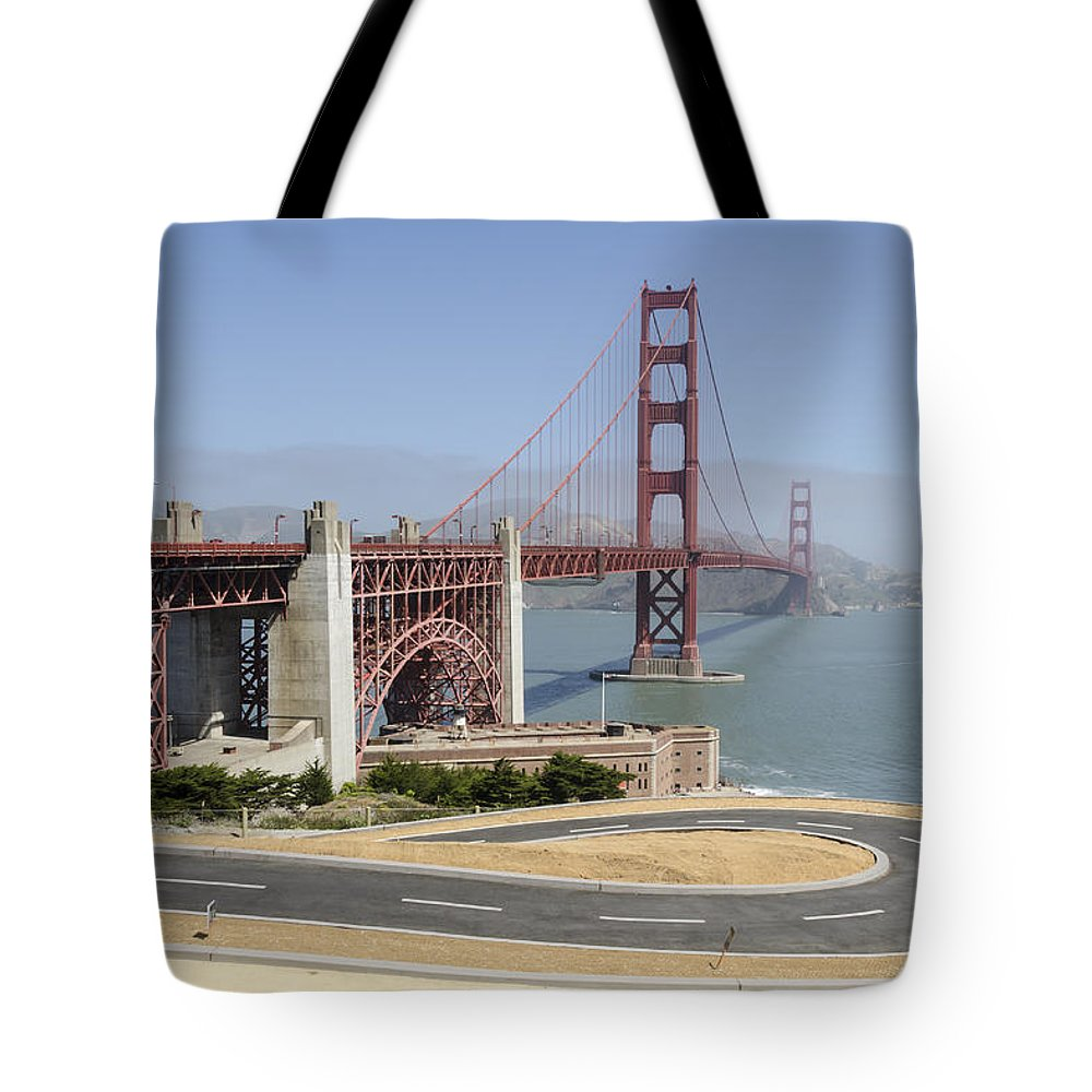 Golden_gate_bridge Tote Bag featuring the photograph Golden Gate Bridge And Bike Path by Bruce Frye