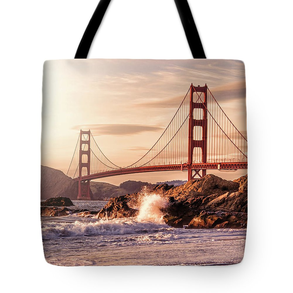 Water's Edge Tote Bag featuring the photograph Golden Gate Bridge From Baker Beach by Karsten May