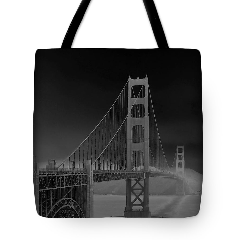 Connie Fox Tote Bag featuring the photograph Golden Gate Bridge To Sausalito by Connie Fox