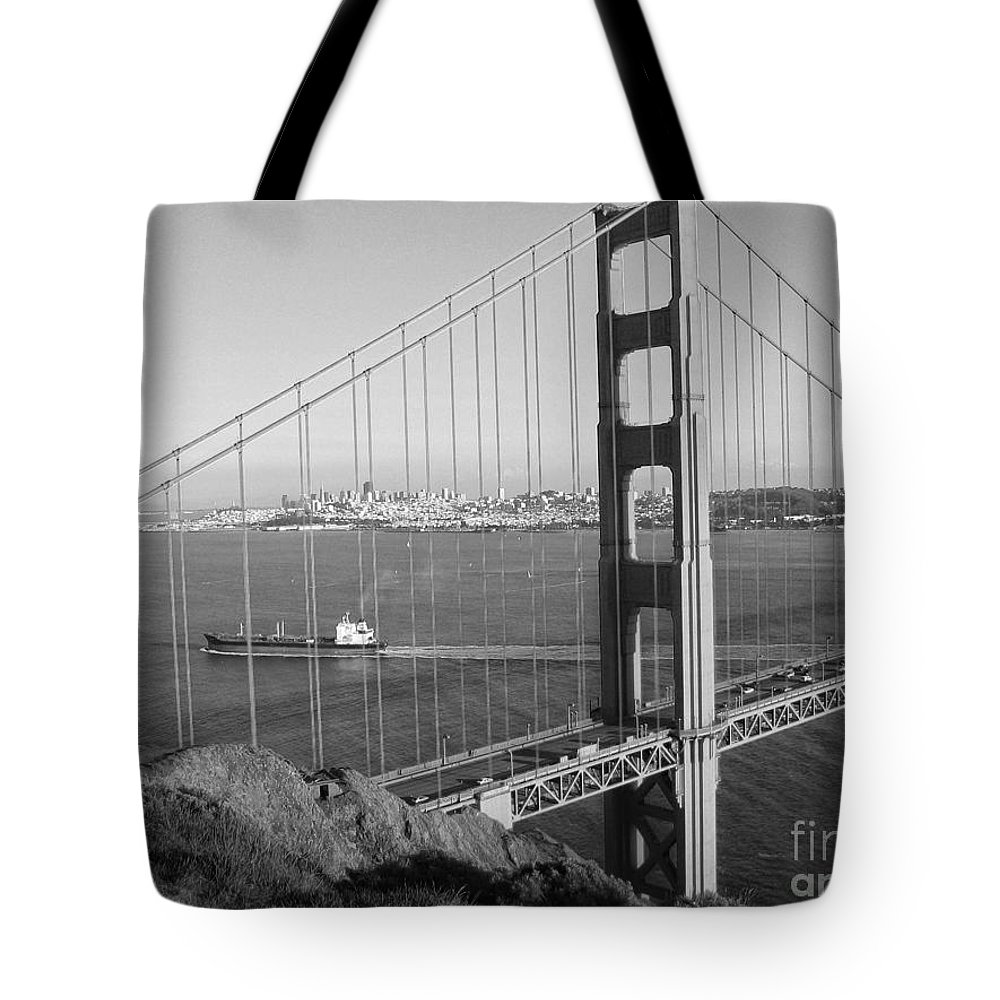 San Francisco Tote Bag featuring the photograph Golden Gate In Bw by Timothy Hacker