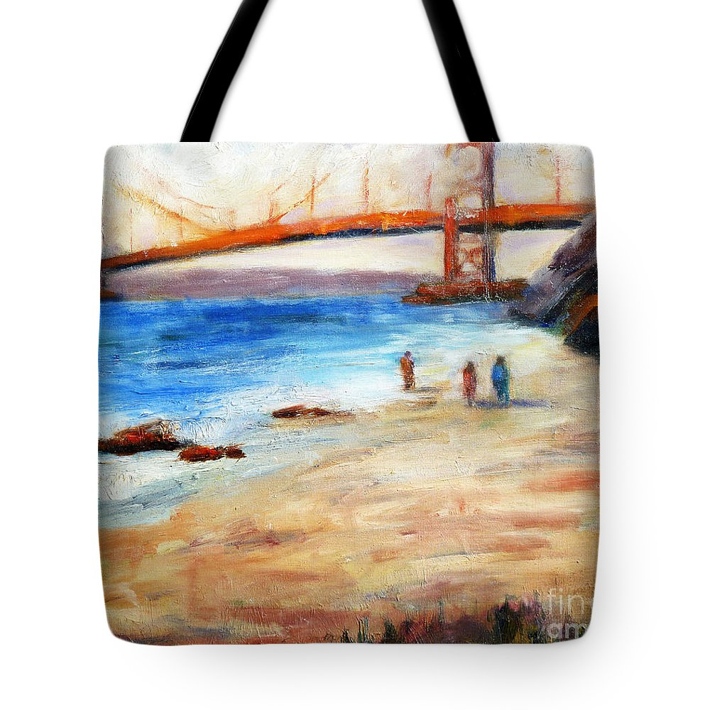 San Francisco Tote Bag featuring the painting Golden Gate Stroll by Carolyn Jarvis
