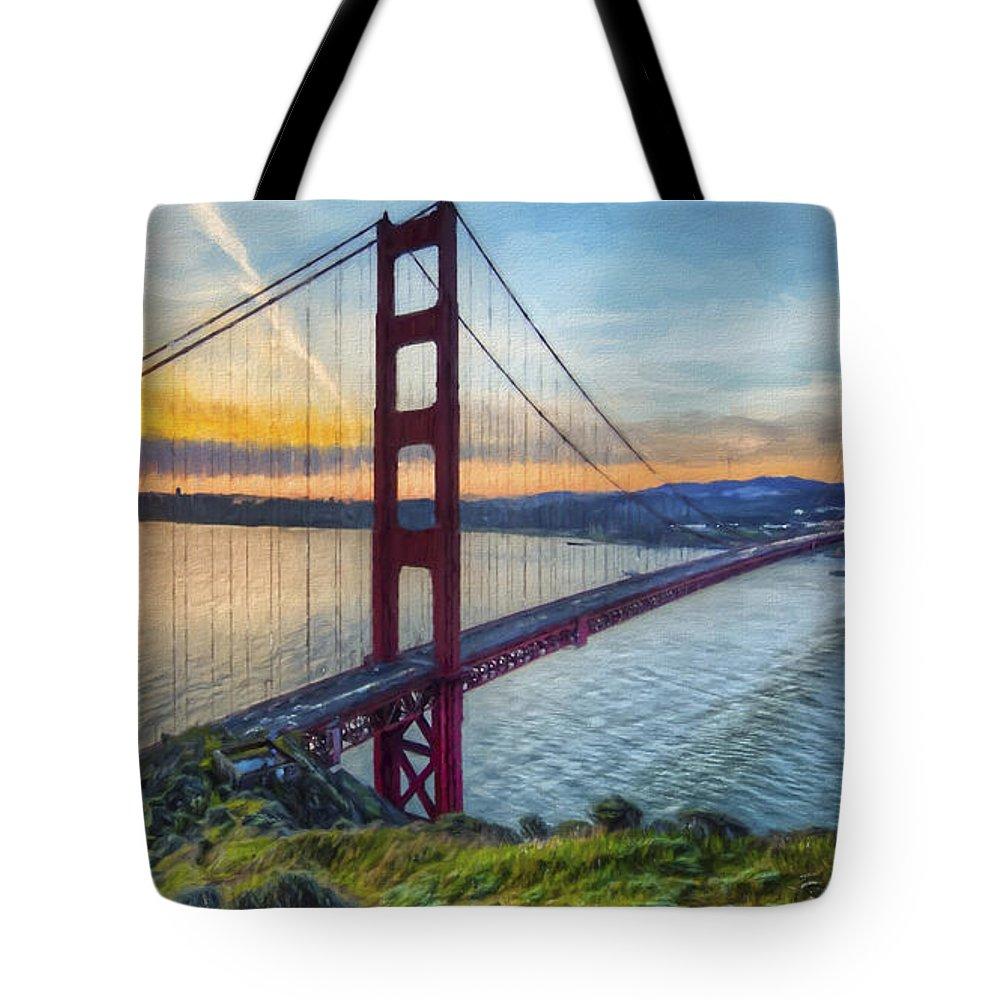 Art Tote Bag featuring the painting Golden Gate by Veikko Suikkanen