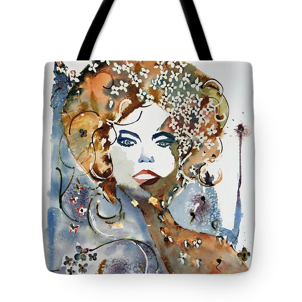 Watercolor Painting Tote Bag featuring the painting Golden Girl by Mona Mansour Jandali