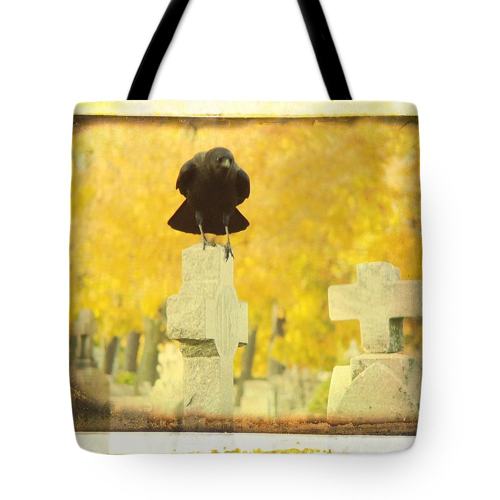 Golden Fall Graveyard Trees Tote Bag featuring the photograph Golden Gothic by Gothicrow Images