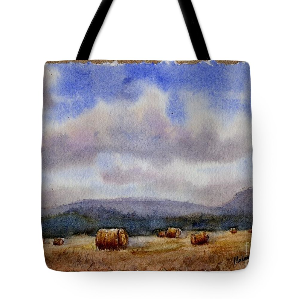 Agricultural Tote Bag featuring the painting Golden Harvest by Mohamed Hirji