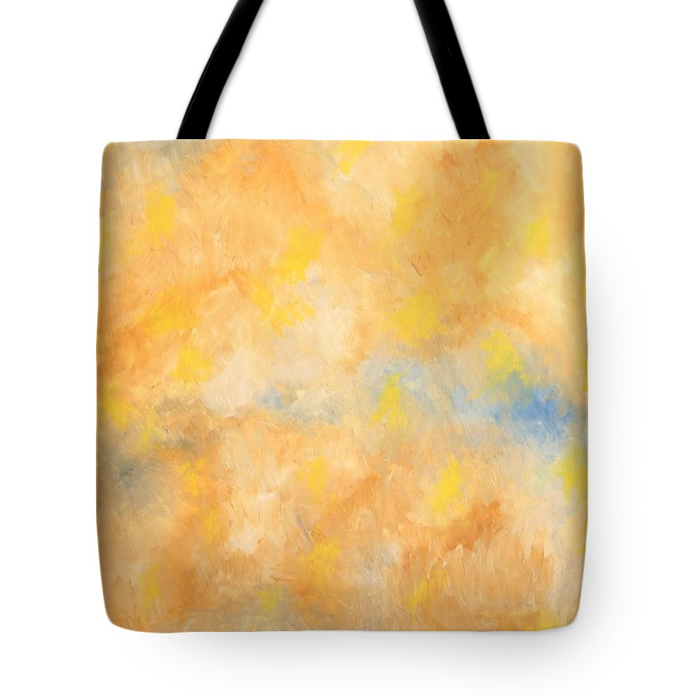 Abstract Tote Bag featuring the painting Golden Haze by Zodiak Paredes