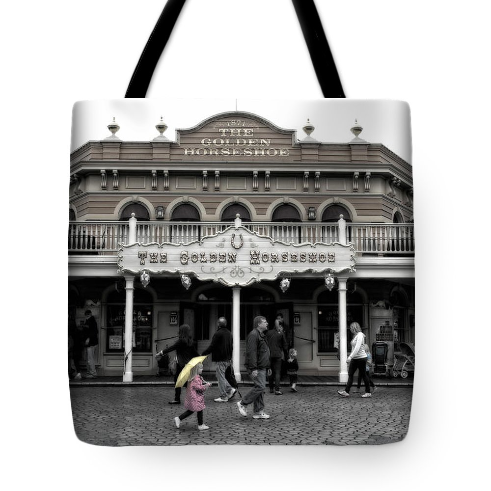 Disney Tote Bag featuring the photograph Golden Horseshoe Frontierland Disneyland Sc by Thomas Woolworth