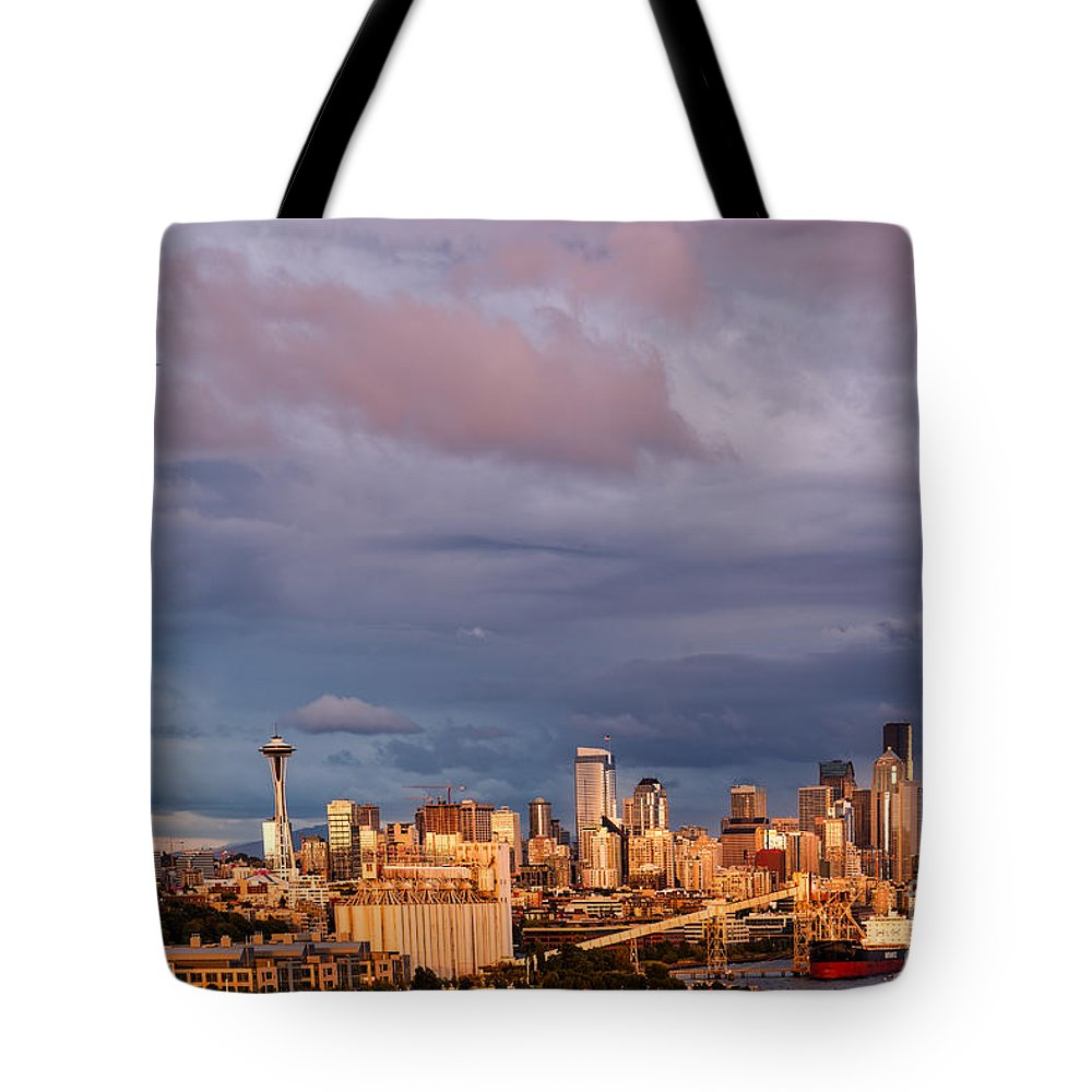 Downtown Seattle Tote Bag featuring the photograph Golden Hour Reflected On Downtown Seattle And Space Needle - Seattle Washignton State by Silvio Ligutti