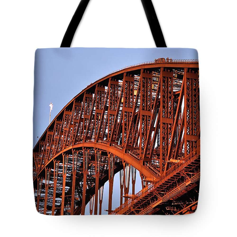 Photography Tote Bag featuring the photograph Golden Hour Turns Bridge Red by Kaye Menner
