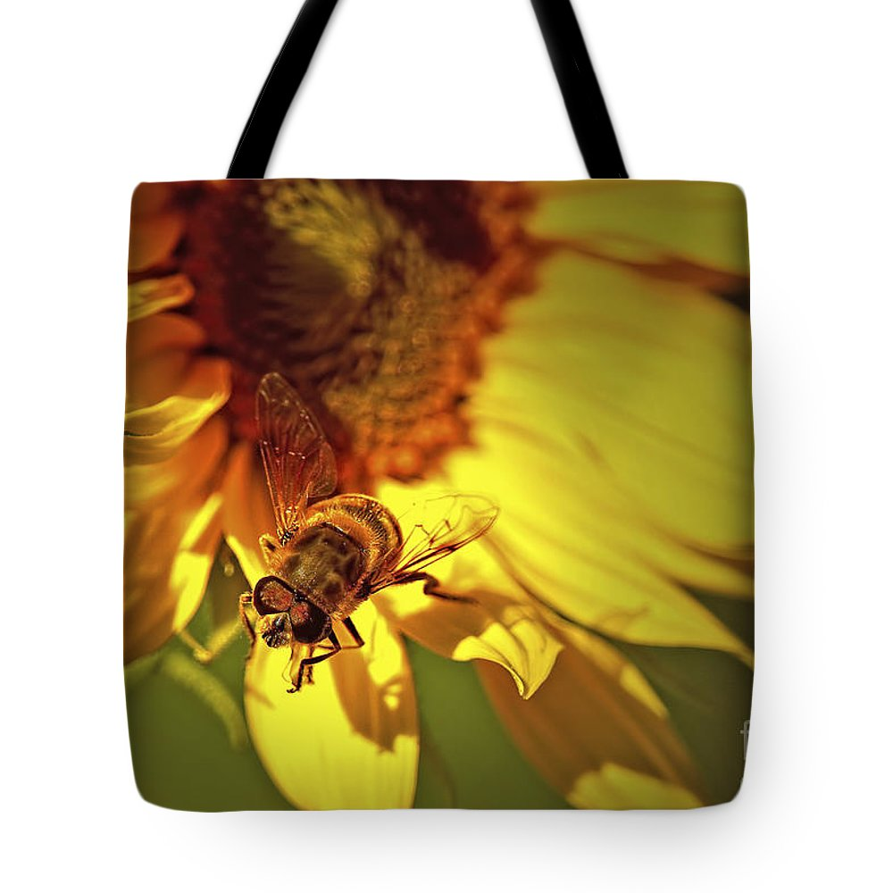 Hover Fly Tote Bag featuring the photograph Golden Hoverfly 2 by Sharon Talson