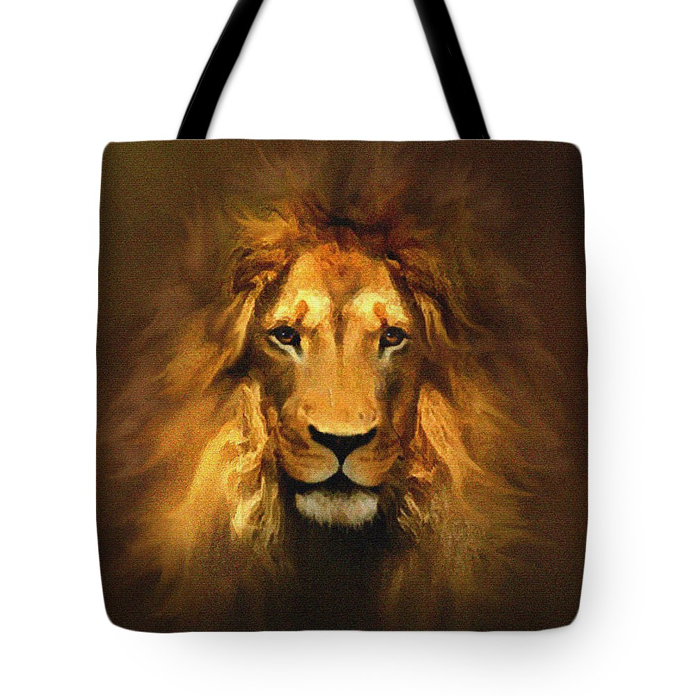 Lion Tote Bag featuring the painting Golden King Lion by Robert Foster