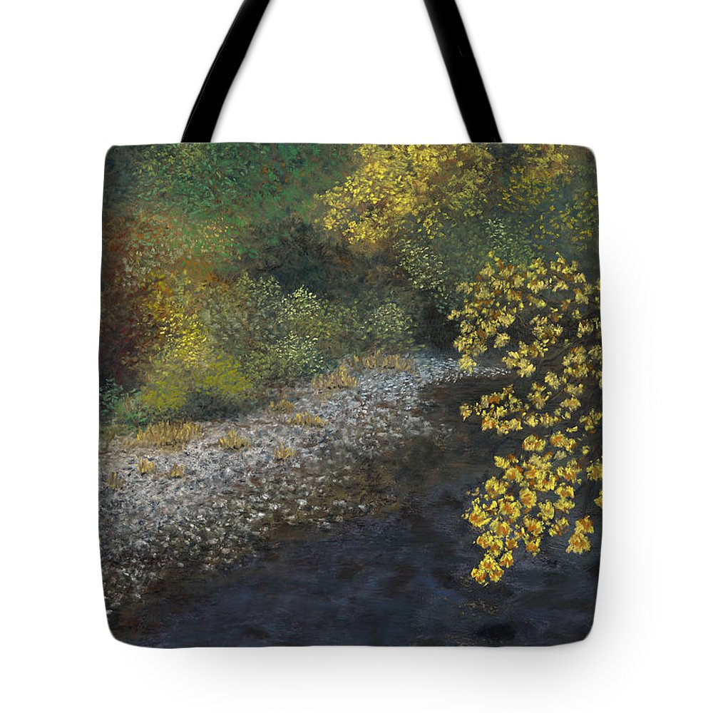 Creek Tote Bag featuring the painting Golden Overhang by Ginny Neece