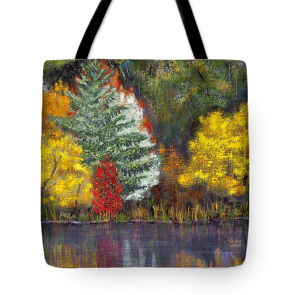 Landscape Tote Bag featuring the painting Autumn Tapestry by Margaret Bobb