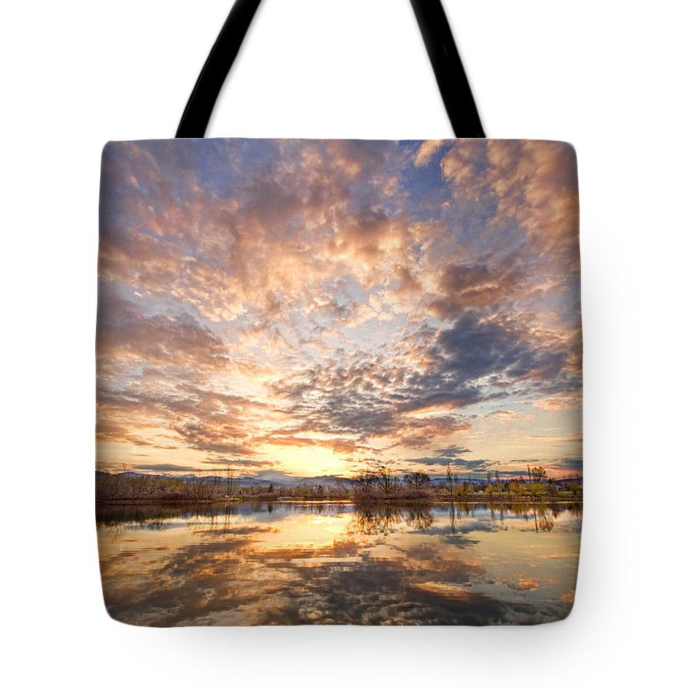 Clouds Tote Bag featuring the photograph Golden Ponds Scenic Sunset Reflections 3 by James BO Insogna