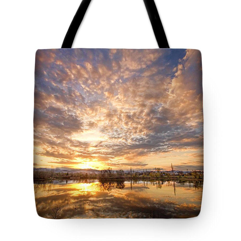 Clouds Tote Bag featuring the photograph Golden Ponds Scenic Sunset Reflections 5 by James BO Insogna