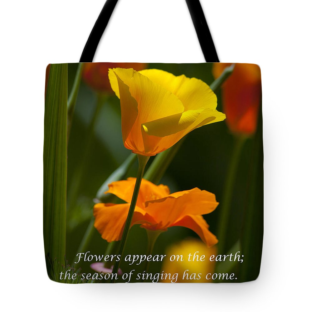 Golden Poppy Floral Bible Verse Photography Tote Bag For Sale By
