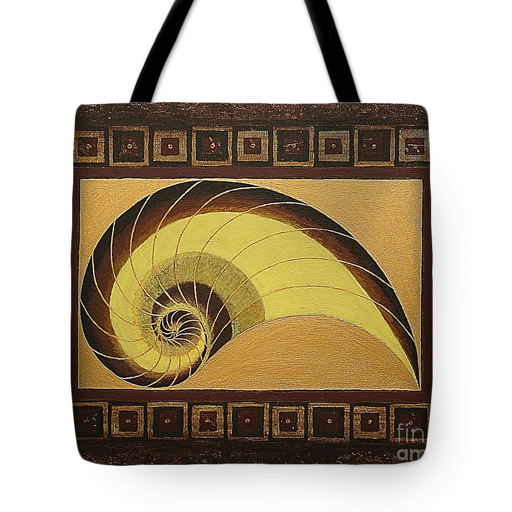 Mandala Paintings Tote Bag featuring the painting Golden Ratio Spiral by Maya B