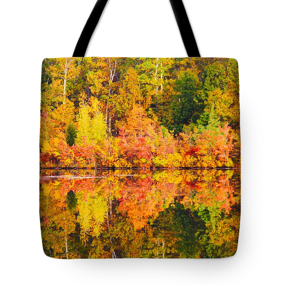 Landscape Tote Bag featuring the photograph Golden Reflection by Roger Becker