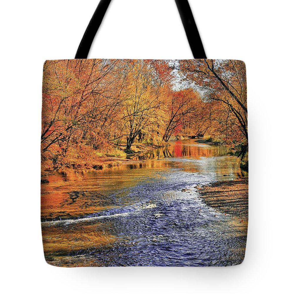 Landscape Tote Bag featuring the photograph Golden Reflections by Marcia Colelli