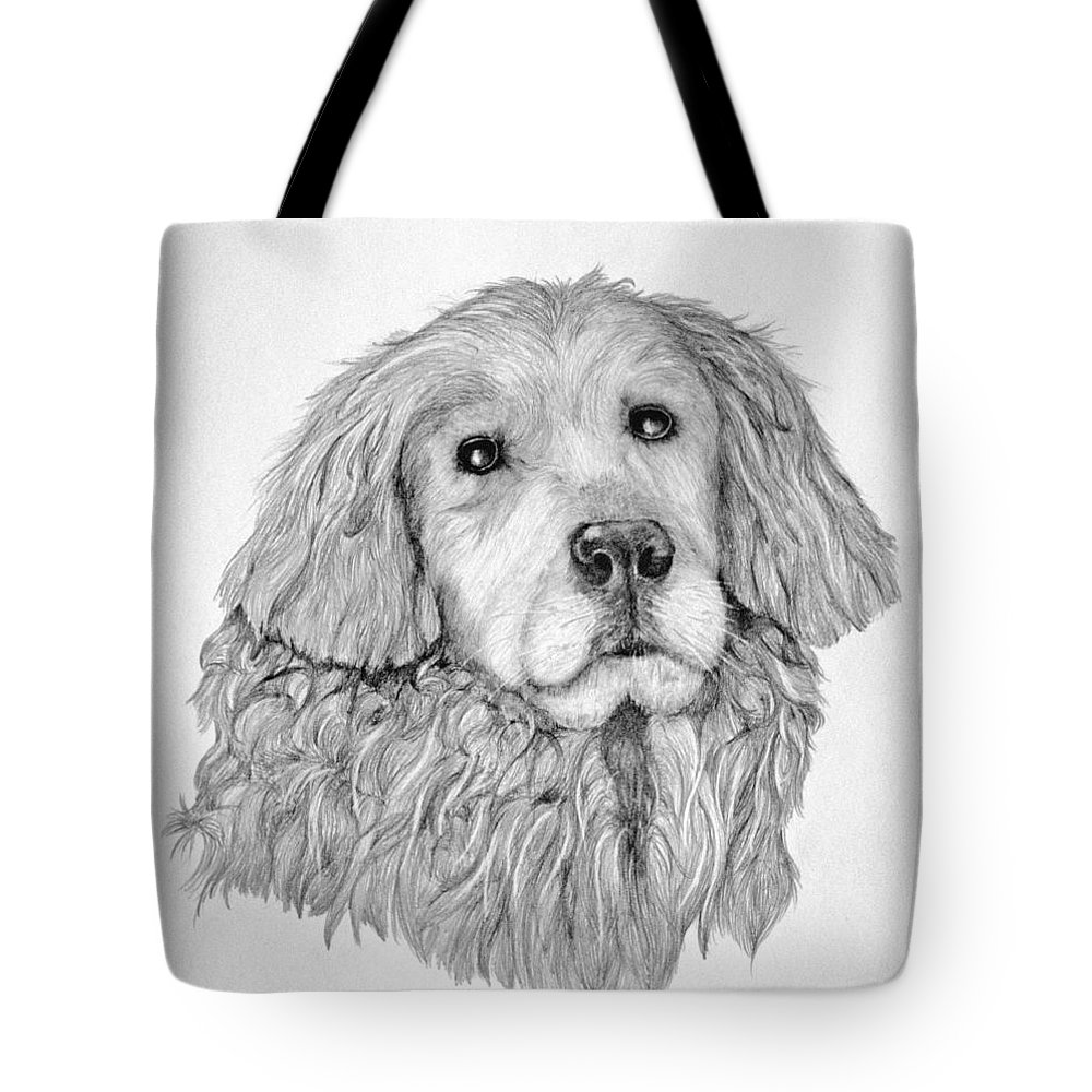 Drawing Tote Bag featuring the drawing Golden Retriever by John Stuart Webbstock