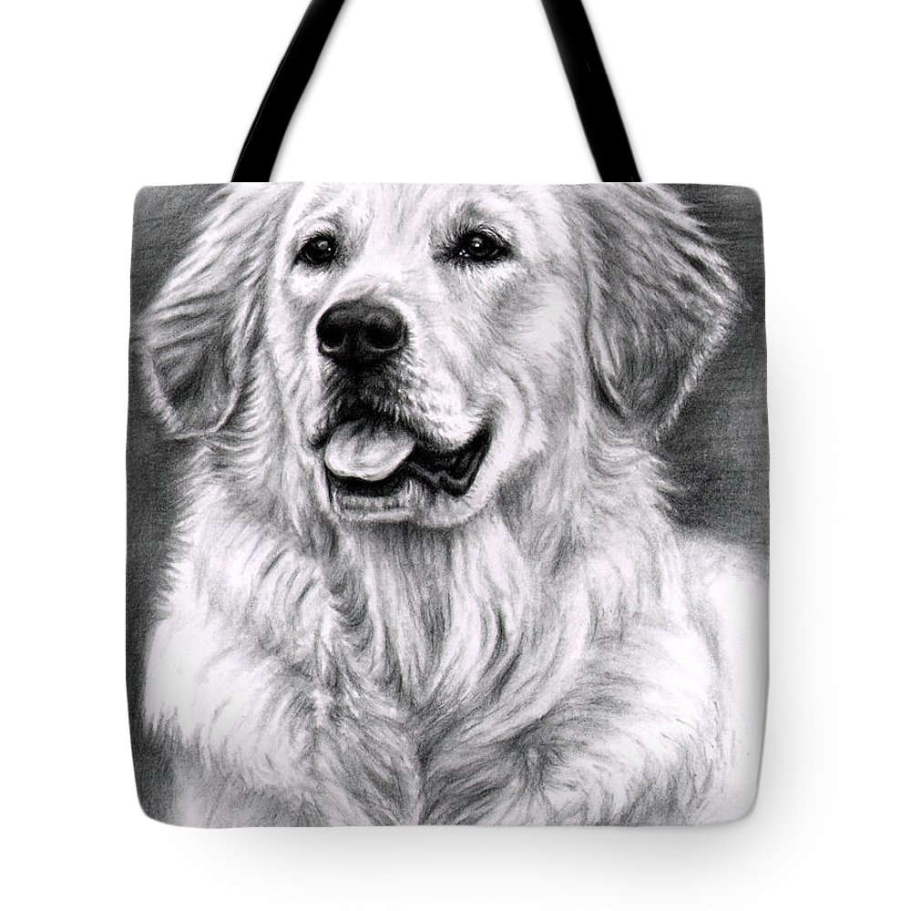 Dog Tote Bag featuring the drawing Golden Retriever Spence by Nicole Zeug