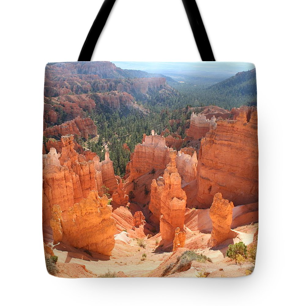 Canyon Tote Bag featuring the photograph Golden Rocks Of Bryce Canyon by Christiane Schulze Art And Photography