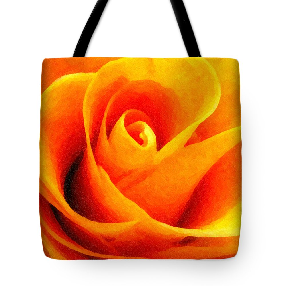 Flower Tote Bag featuring the photograph Golden Rose - Digital Painting Effect by Rhonda Barrett