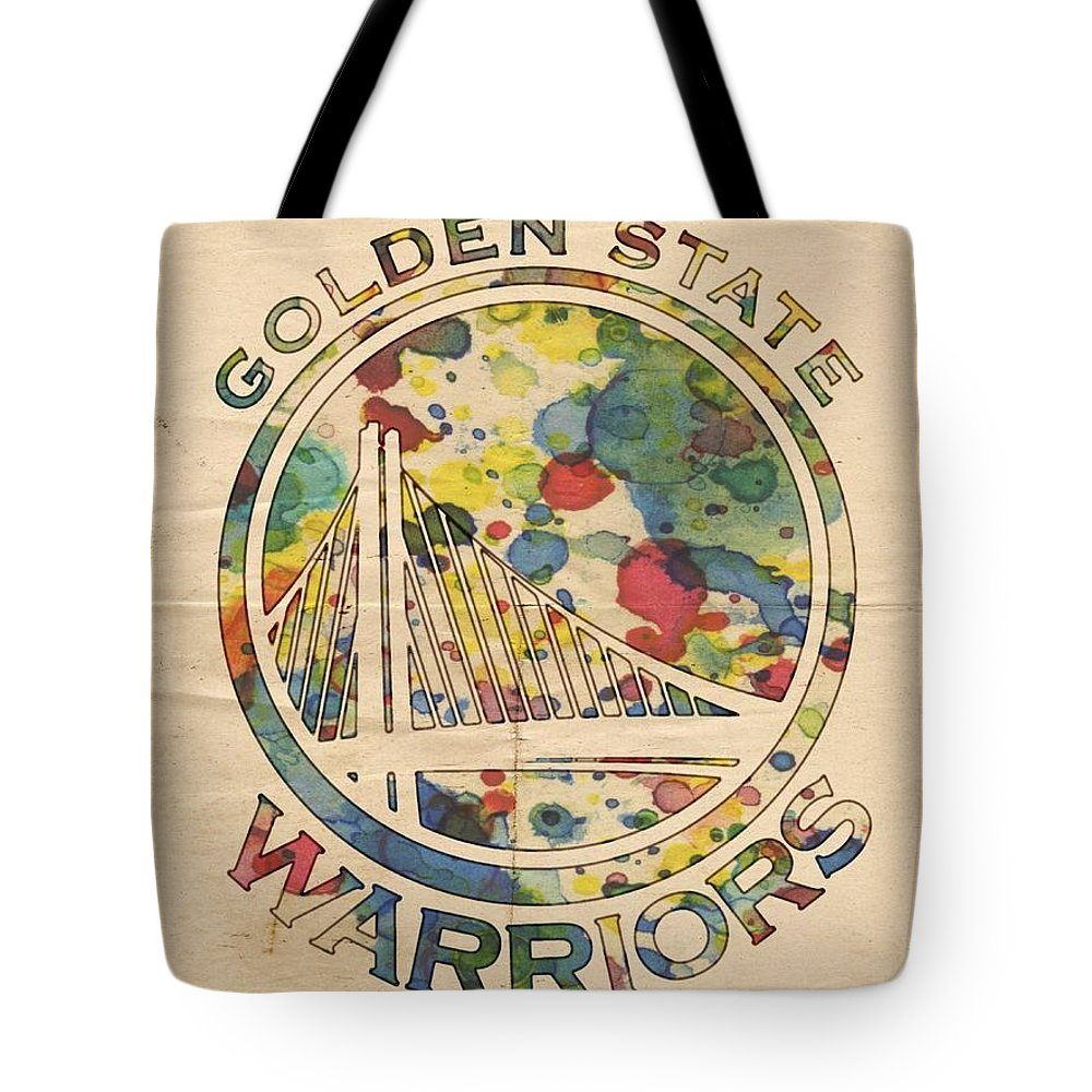 Golden State Warriors Tote Bag featuring the painting Golden State Warriors Logo Art by Florian Rodarte