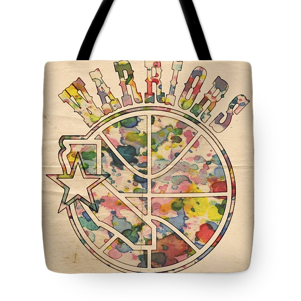 Golden State Warriors Tote Bag featuring the painting Golden State Warriors Vintage Art by Florian Rodarte