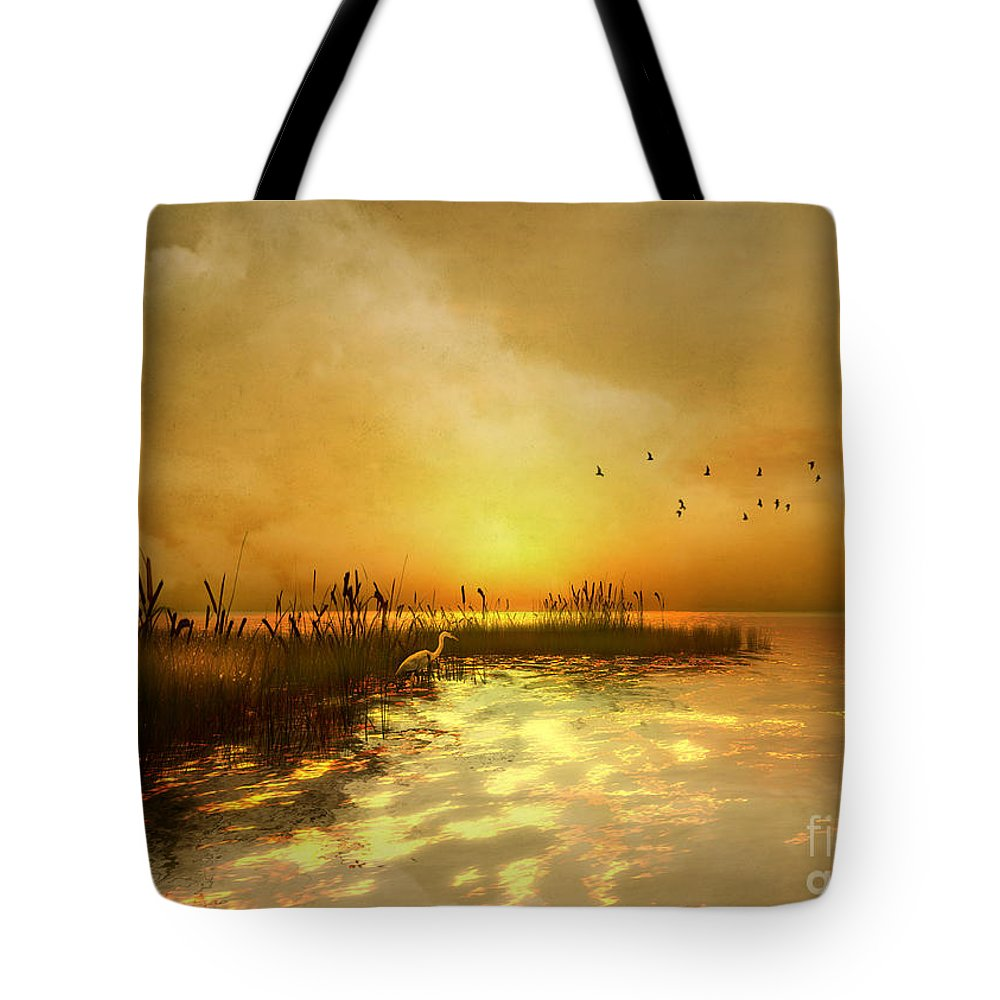 Nature Tote Bag featuring the digital art Golden Sunset by Carlotta Ceawlin
