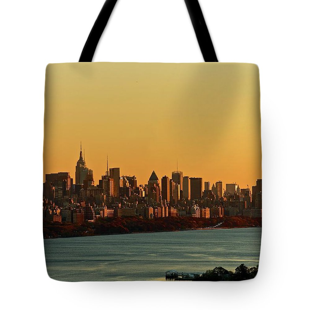 Tranquility Tote Bag featuring the photograph Golden Sunset On Nyc Skyline by Robert D. Barnes