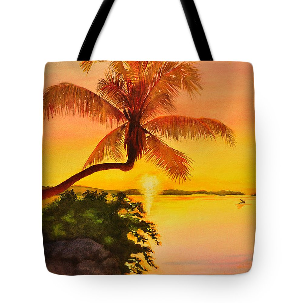 Palm Tree Tote Bag featuring the painting Golden Sunset by Terry Arroyo Mulrooney