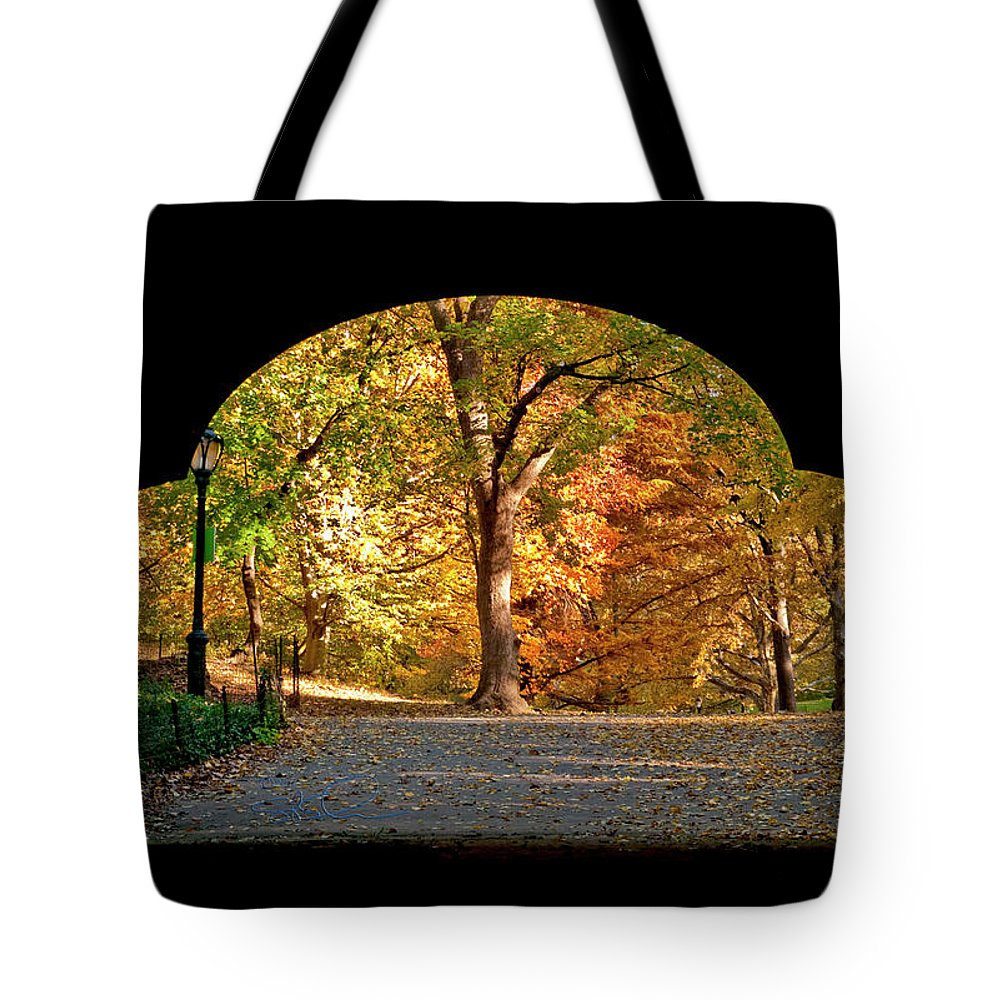 Central Park Tote Bag featuring the photograph Golden Underpass by S Paul Sahm