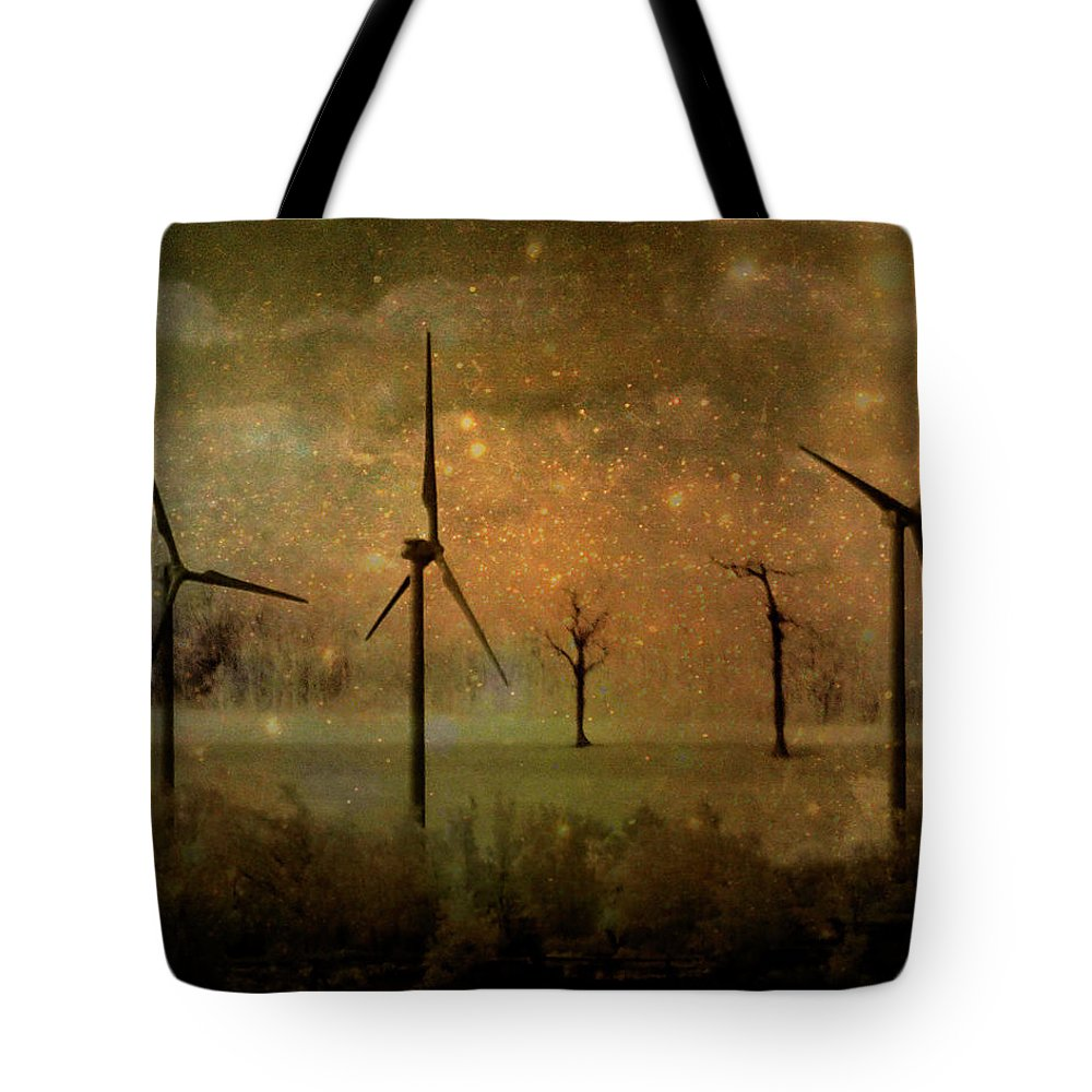 Turbines Tote Bag featuring the digital art The Golden Winds Blew The Stars by Gothicrow Images