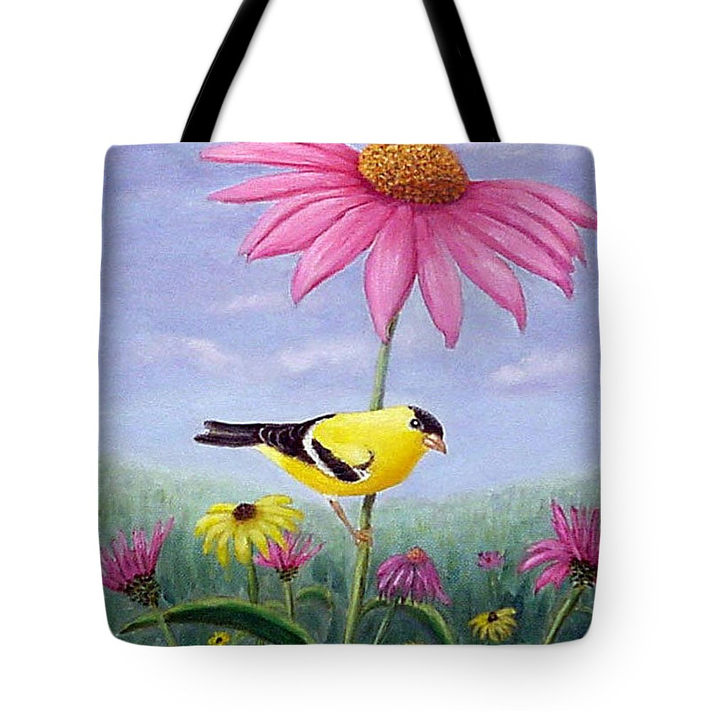 Goldfinch Tote Bag featuring the painting Goldfinch And Coneflowers by Fran Brooks