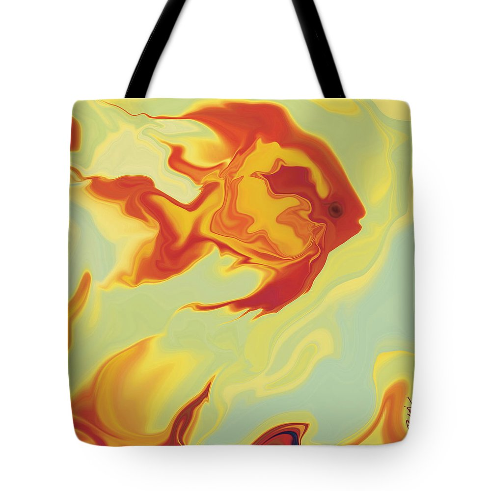 Aquarium Tote Bag featuring the digital art Goldfish 1 by Rabi Khan