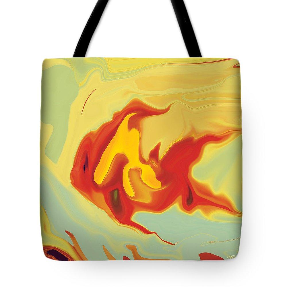 Aquarium Tote Bag featuring the digital art Goldfish 2 by Rabi Khan