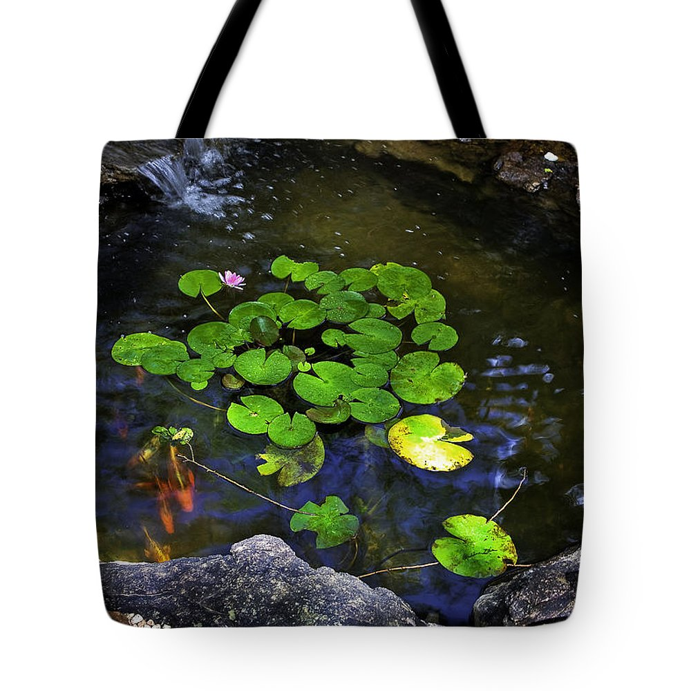 Goldfish Tote Bag featuring the photograph Goldfish With Lily Pads by Madeline Ellis