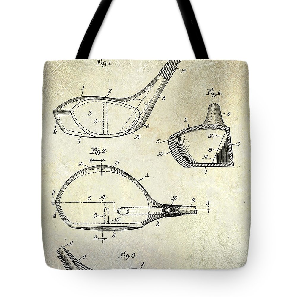Golf Tee Tote Bag featuring the photograph 1926 Golf Club Patent Drawing by Jon Neidert