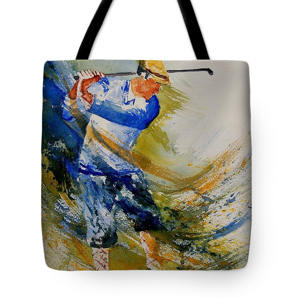 Golf Tote Bag featuring the painting Golf Player by Pol Ledent